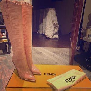 "Pink ""Fendi"" Cowboy Boots - Croc. Embossed Leather"